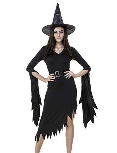 [Hamour Women's Halloween Sexy Witch Fancy Dress Outfit Costume with Hat, Black, M] (Sexy Witch Outfits)