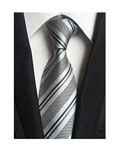 Men's Boy Junior Ties Softness Amazing Silk Grey Stripe Luxury Wedding Neckties