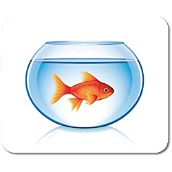 """Boszina Mouse Pads Gold Orange Fish Goldfish in Bowl White Realistic Glass Tank Mouse Pad for notebooks,Desktop Computers mats 9.5"""" x 7.9"""" Office Supplies"""