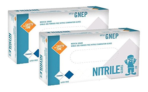 Nitrile Exam Gloves - Medical Grade, Powder Free, Latex Rubber Free, Disposable, Non Sterile, Food Safe, Indigo color, 200 Count, Size (200 Safes)