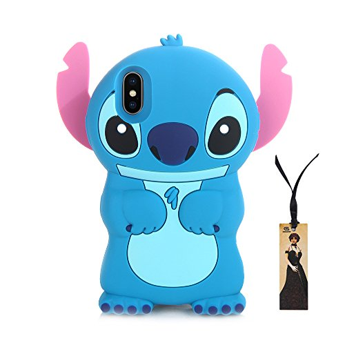 Blue Stitch Soft Silicone 3D Phone Case for iPhone X iPhoneX 2017 5.8 3D Cartoon Ultra Thick Shockproof Shock Drop Resistant Protection Cute Cool Gift Kids Teens Girls Boys