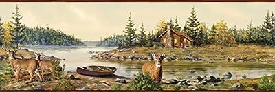 Chesapeake HTM48412B Cabin Creek Sand Portrait Wallpaper Border