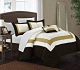 Purple and Gold Bedding Set Chic Home Duke 10 Piece Color Block Bed, Queen, Gold