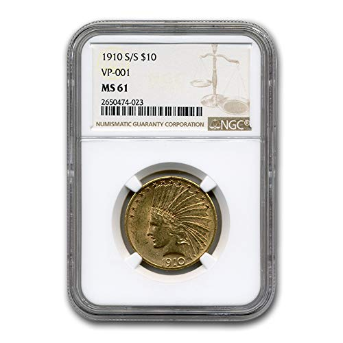 1910 S/S $10 Indian Gold Eagle MS-61 NGC (VP-001) G$10 MS-61 NGC