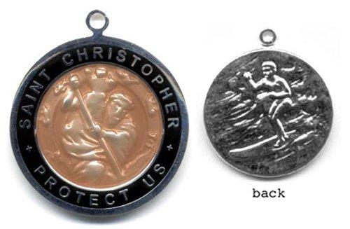 (St. Christopher Silver Plated Colored Surf Medal - Large Bronze/Black)