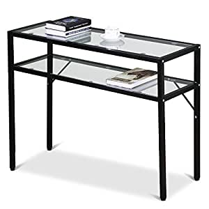 Amazon.com: Topeakmart Modern Glass Top Console Table with ...