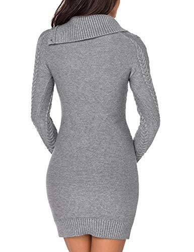 84c2b49ad66 Lookbook Store Women s Asymmetric Button Collar Cable Knit Bodycon Sweater  Dress Grey Size XL