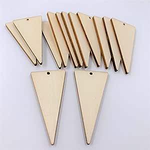 Pendientes colgantes triangulares de madera sin terminar, 2 pulgadas de alto x 1 pulgada de ancho x 1/8 pulgadas de ancho, cortados con láser, 20 unidades