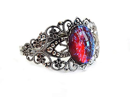 Little Gem Girl Mexican Opal Dragons Breath Cuff Color Changing Bracelet Red Blue Glass Dome ()