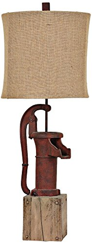 antique water pump table lamp