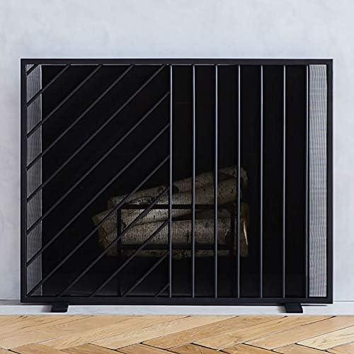 YXX-暖炉スクリーン 赤ちゃんの安全フラット暖炉スクリーン、金属の装飾メッシュ、ブラックと暖炉、単一のパネルスパークガードのための暖炉スクリーン