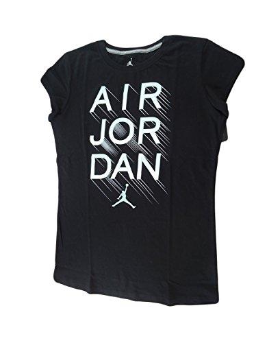 NIKE Air Jordan Little Girls Tee Jersey T-Shirt Top (XL, Black) by NIKE