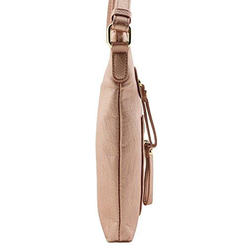Crossbody Large Bag Faux leather Rose Gold Lightweigt Soft qfv7HpT