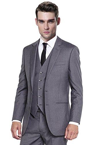 Hanayome Men's 3 Pieces Two Buttons Business Tuxedo Suits Pants Set In Grey U171£¨Grey,44L£© - 3 Button Business Suit