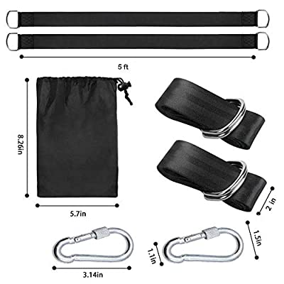 Tree Swing Hanging Straps Set of 2 Holds 2000 lbs /5 ft Long Straps with Safe Lock Snap Hooks, Perfect for Tire, Saucer Swings, Hammocks, Easy & Fast to Installation Swing Hanger: Garden & Outdoor