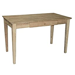 Solid Hardwood Unfinished Writing Desk With Drawer 48 In.