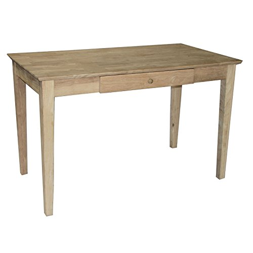 - Solid Hardwood Unfinished Writing Desk With Drawer