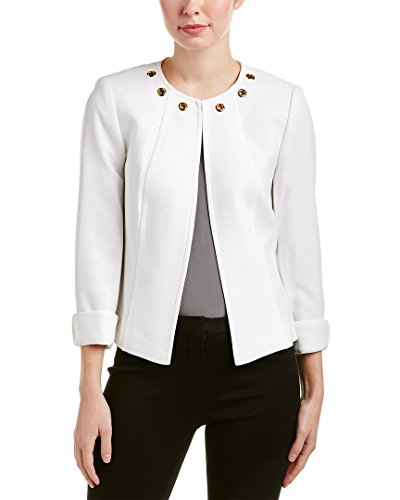 Tahari ASL Women's Open Front Jacket w/Cuffed Sleeve and Grommet Detail Ivory White 12