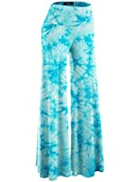 MBJ Womens Comfy Chic Solid Tie-Dye Palazzo Pants