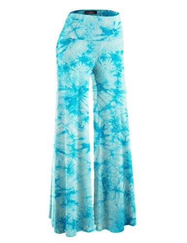 (Made By Johnny WB1060 Womens Chic Tie Dye Palazzo Pants XXXL Aqua )