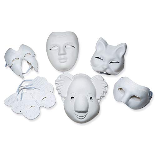 Creativity Street CK-4199 Paperboard Masks, Classroom Pack 24 Pieces , Natural, Assorted Sizes ()