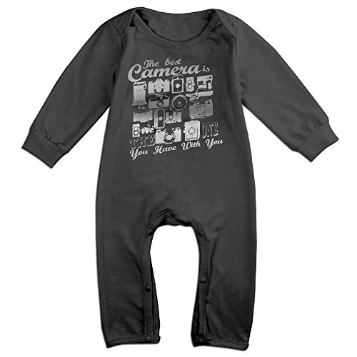 The-best-camera Long Sleeve Bodysuit Baby Onesie Baby Climbing Clothes For 0-24 Months Black 6 M