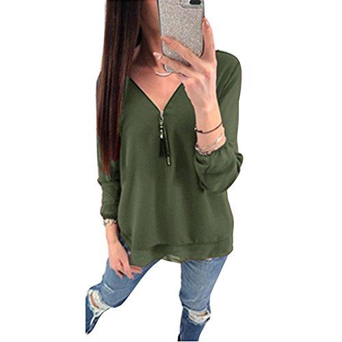 Army con Camicie con Cerniera Lavoro Solido Appuntamenti Donna Incrociate V Green Camicetta Maniche Ufficio a per Top Lunghe Juleya Chiffon Scollo Blusa Donne 861nqvz