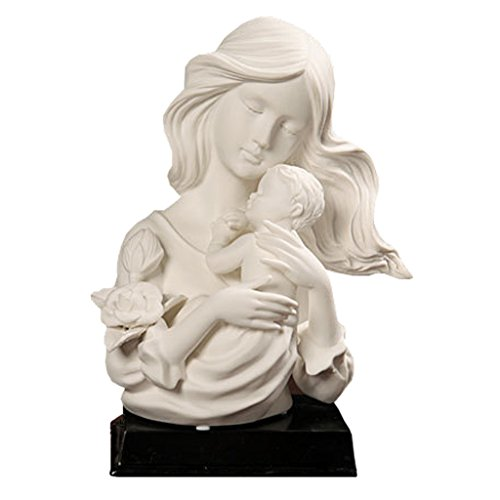QHYT White Porcelain Statues Character Sculpture Home Decorations Mother Holding (Mother Holding Child Statue)