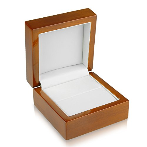 - Geff House Walnut Wood Double Ring Jewelry Gift Box
