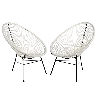 Acapulco Woven Basket Lounge Chair, Set of 2, White - Set of 2 indoor/outdoor basket lounge chairs. Durable plastic cord weave cradles the body. Accent the chair with pillows or blankets. Black powder-coated rust-proof iron frame. - patio-furniture, patio-chairs, patio - 41q%2BqC0EM8L. SS400  -
