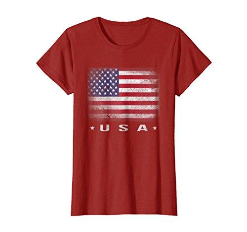 Flag Mens Tee - Womens USA Flag T-shirt 4th July Fourth Red White Blue Star Stripes Medium Cranberry