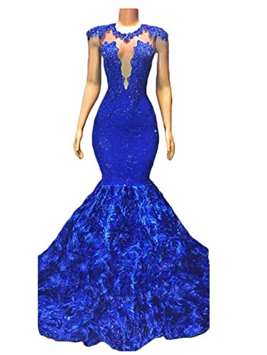 Sexy Mermaid Prom Dresses 2019 Long Appliques Lace Evening Dresses Party Gowns for Women with Rose Flowers Train