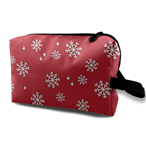 LosunaAniQ Travel Cosmetic Makeup Bags Shaving Kit Travel Bags with Snowflake Red Christmas Pattern for Toiletries (Drifting Snow)