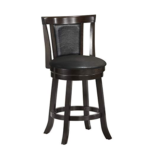 Monarch Specialties I I 1288 Wood Swivel Barstools, 39 H, Cappucino Black Leather-Look