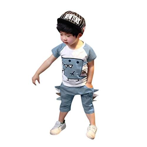 Todaies 2PC Toddler Kids Baby Boy Cartoon Dinosaur Printed T shirt Tops+ Shorts Outfits Clothes Set 2018 (18M, Blue)