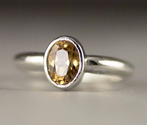 Honey Zircon Ring - Sterling Oval Gemstone Statement Ring - Size 6
