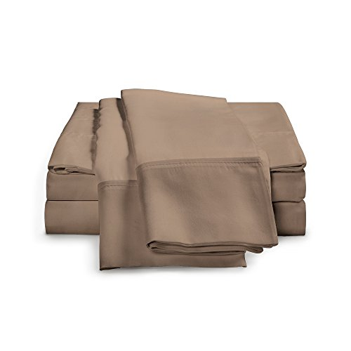 100% Egyptian Cotton Sheet Set - 1000 Thread Count | Hotel Luxury Single Ply - Sateen Weave | Set Includes One Flat Sheet, One Fitted Sheet & Two Pillowcases, King, Taupe (Sheet King Set Single)