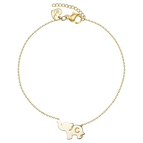 Gold Initial Elephant Anklets For Women 14K Gold Filled Friendship Charm Cute Tiny Lucky Animal Ankle Bracelet Letter C Jewelry (AK-C)