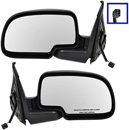 Amazon Com Flat Black Cap Power Side Mirrors Pair Set Left Right For Chevy Pickup Truck Automotive