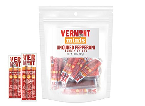 Vermont Smoke & Cure Mini Jerky Sticks, Turkey, Antibiotic Free, Gluten Free, Uncured Pepperoni, Great Keto Snack, High in Protein, Low Sugar, 0.5oz Stick, 20 Count