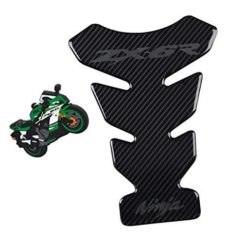 5D Real Carbon Fiber Motorcycle Decal Vinyl Tank Protector Tank Pad For Kawasaki Ninja ZX6R 2pcs per set (Tank pad & ()