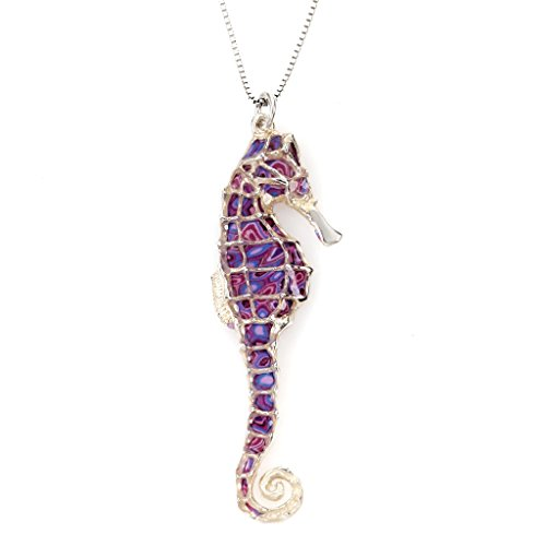 (925 Sterling Silver Seahorse Necklace Pendant Purple Polymer Clay Handmade Jewelry, 16.5