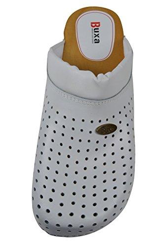 Buxa Zuecos de Cuero Unisexo con suela de Madera y el relleno, Agujero Diseño Blanco