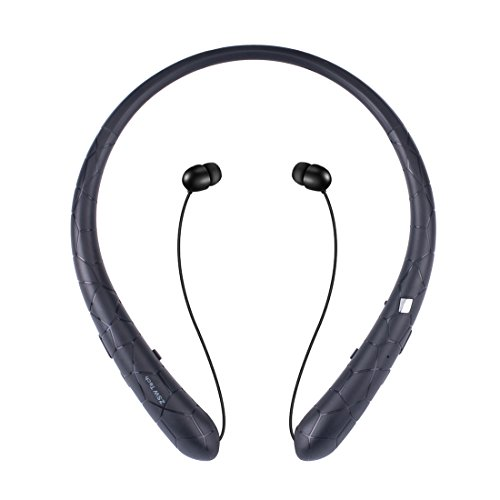 Bluetooth Retractable Headphones, Wireless Neckband Earbuds Sports Headset Sweatproof Earphones with Mic (2018 Upgraded Version, 15 Hours Play Time, Black)