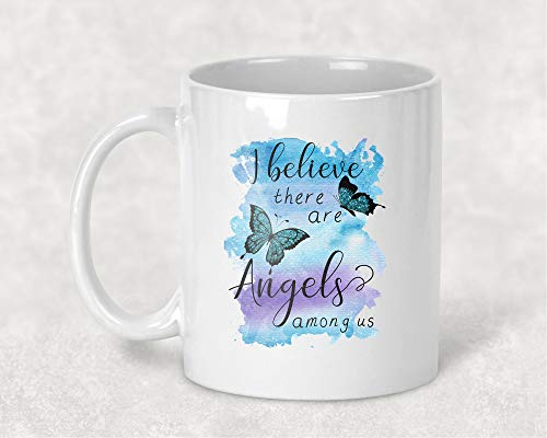 We Believe there are Angels Among Us Butterfly Mug, 11 oz. Coffee Cup Memorial Gift for - Memorial Mug