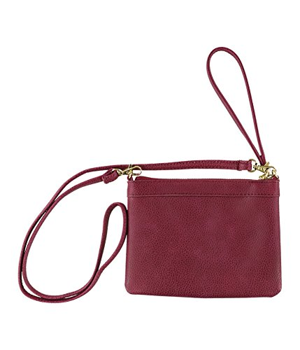 Aeropostale Womens Faux Leather Clutch Handbag Purse, Red, Extra Small (16 in. & Under)