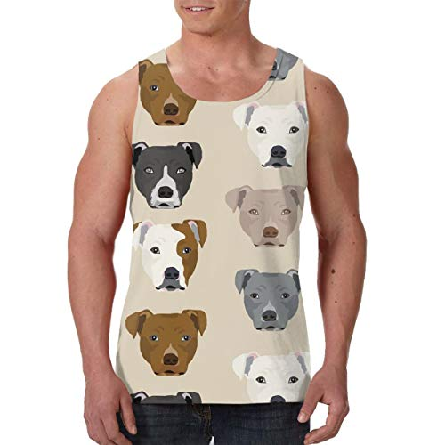 Summer Mens Vest Shirts Crew Neck Pitbull Heads Sleeveless Vests for Exercise Yoga Game, Classic Slim Fit Sportswear Jersey Tank Shirts, Moisture Wicking ()