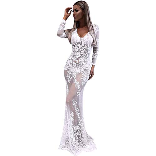 Women's Retro Floral Lace Formal Dresses Long Sleeve Elegant Slim Long Dress Party Wedding Maxi Dress (XL, White) ()