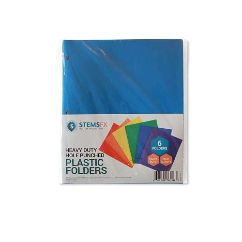 Assorted Colors Pack of 6 STEMSFX Heavy Duty Plastic 2 Pocket Folder