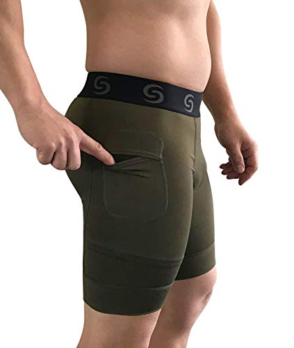 (Sport-it Men's Compression Workout Shorts with Pockets for Phone - Base Layer Tights, Short Leggings (X-Large, Khaki))